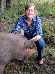 Caroline and pig